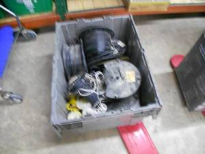 Large Tote full of Electrical Wire.  Lamp Wire, Coax and several Gauge wires